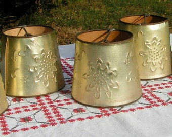 Set of Five Vintage Lampshades - Gold Toned Pin holed Cardboard  1950s Kitsch