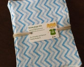 Unpaper Towels Reusable Flannel blue chevron Baby Wipes small Set of 4
