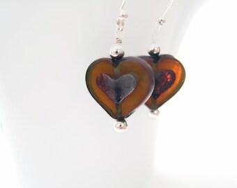 Heart Earrings Czech Glass Heart Earrings Valentines Day Jewelry Dark Yellow Earrings Free Shipping USA Valentine Jewelry Romantic Gift Idea