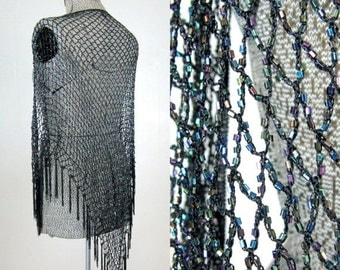 25% Off Summer Sale.... Vintage 1980s Crochet Beaded Shawl by Daniele Meucci Made in Italy Open Size