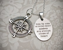 Sister Necklace - S12 - Sister Gift, Sisters Necklace, Sisters Jewelry, Sister Christmas Gift, Big Sister, Little Sister, Compass Charm