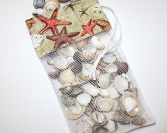 Mini Sea Shell Bag,Drawstring Shell Collecting Bag, Sandy Starfish & Sand Dollars, Mesh Shelling Bag, SeaShell Collecting Bag, Se Shell Bags