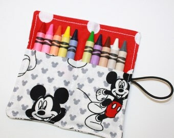 CUSTOM 15 Crayon Rolls Party Favors, made from Mickey Mouse on white fabric, holds 10 crayons, JULY 30 Birthday Party Favors