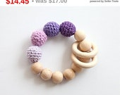 Christmas gift idee Lavender, lilac, violet teething ring toy with crochet wooden beads. Rattle for baby.