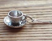 Tea cup charm necklace teacup coffee cup