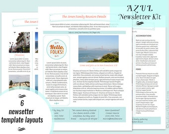Azul newsletter main page layout 1 newsletter template in for Adobe newsletter templates