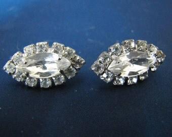 Vintage Rhinestone Oval Earrings (Pierced)