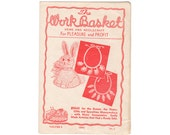 1944 Workbasket Magazine Vol 9 No 2, Quilt of Many Ties Pattern, Crocheted Plume Necklace Pattern, Knitted Chair Set Pattern, Crochet Bunny