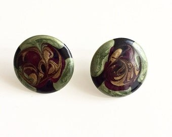 1980s Multicolor Swirl Button Earrings
