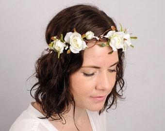 Wedding Flower Crown Bridal Headpiece Rose Headband Wedding Hair Piece Rustic Country Halo Floral Circlet Flower Hair Wreath Garland