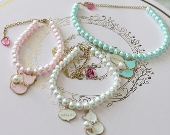 Kawaii Fairy Kei Pastel Pearl Kitty Cat Choker Necklace