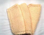 Soft yellow dish or facial cloth or pot holders hand knit cotton