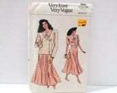 Dress with Jacket Vintage Vogue 9941 Very Easy Sewing Pattern FF uncut Loose Shoulder Pad Jacket Bodice Dress 1980s 8 10 12 Free us ship
