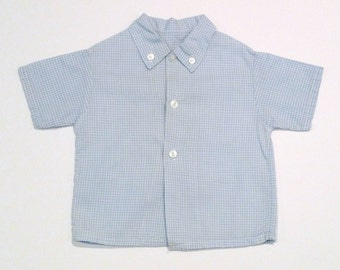 Blue Gingham Shirt Vintage 1960s Unisex Baby Button Down Shirt Short Sleeves Boys Girls preppy Could be used as Doll clothes