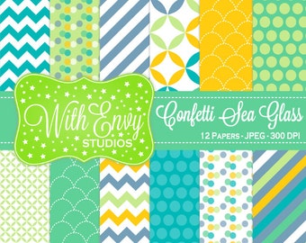 SALE  Yellow, Green and Teal Digital Paper - Geometric Paper - Polka Dot Digital Paper - Striped Paper - Personal & Commercial Use