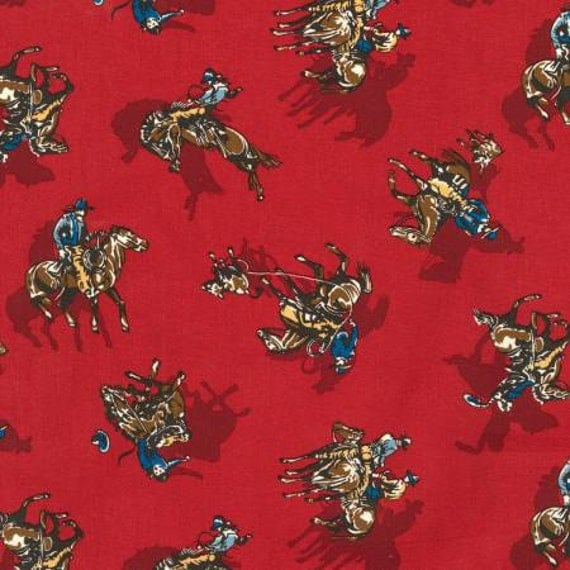 Cowboys Rodeo Fabric Roping Fabric Ride Em Cowboy By