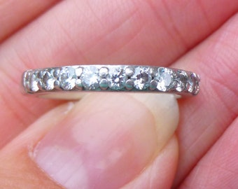 AMAZING Heavy platinum and diamond anniversary band 35 points total weight Stacker band wedding band