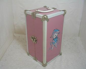 Vintage Metal Cass Doll Case Trunk Pink White Blue Lamb