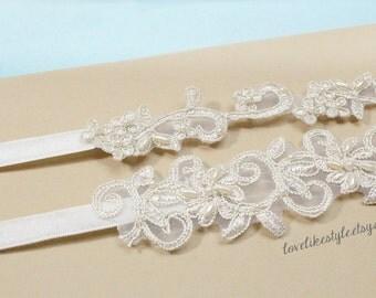 Light Gold Pearl Beaded Lace Wedding Garter Set, Ivory Lace Garter Set, Toss Garter , Keepsake Garter / GT-21