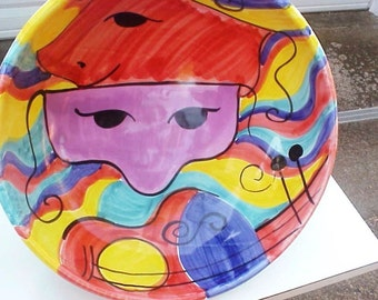 Mid Century Italian Hand-Painted DRAMA Theme Comedy/Tragedy Large Center Piece Bowl