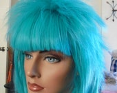 SPRING SALE - Aqua Teal Blue Wig - Short Layered Short Bangs - 13 Inches - Rocker - Emo - Cosplay - Rockabilly - Durable - Daily Wear