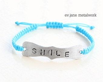 Smile or Custom Name Tag ID Blue Bracelet Hand Stamped Aluminum Boho Hippie Ethnic Minimal Chic Custom Personalised