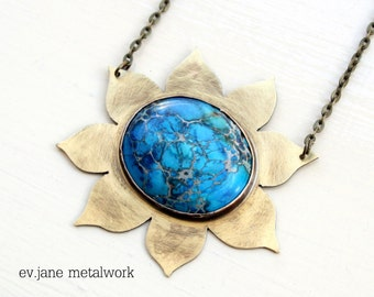 Sun Blue Imperial Jasper Short Necklace Brass Soldered Boho Hippie Ethnic Bib Statement