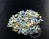3pcs 5-5.3mm round tiny white opal rainbow color semi precious loose stone gemstone diy ring earrings pendant charm cabochon 4110113
