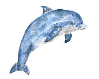 Watercolor painting, dolphin print, animal watercolor, animal painting, watercolor dolphin art, watercolor nursery, watercolor wildlife, 7X5