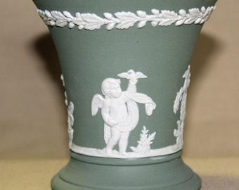 C. 1970's Wedgwood/Jasperware Green Vase with Bas Relief