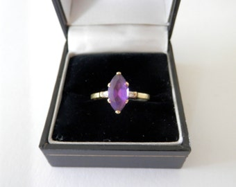 18ct Gold Ring, Art Deco Engagement Ring, Marquise cut Amethyst, UK Size R, US Size 8 5/8, Dress Ring