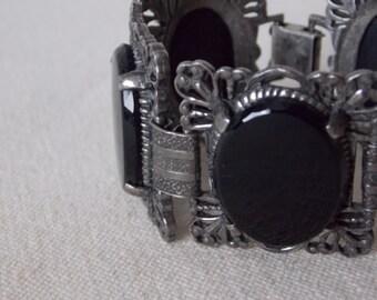 Vintage / Antique Black Jet Filigree Chuncky Bracelet