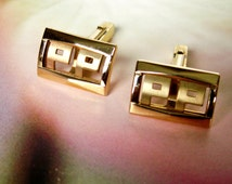 Vintage Art Deco Gold Tone Cuff Links Signed ANSON
