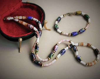Venitian Art Glass Bead and Shell Necklace Plus Bracelet Jewelry Set Colorful