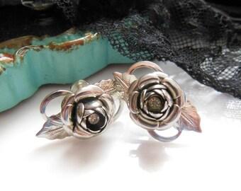Vintage Shining Silver Tone Metal Rhinestone Rose Flower Screw Back Earrings
