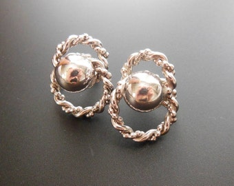 Vintage Coro Silver Metal Intertwined Rope & Dome Design Screw Back Earrings