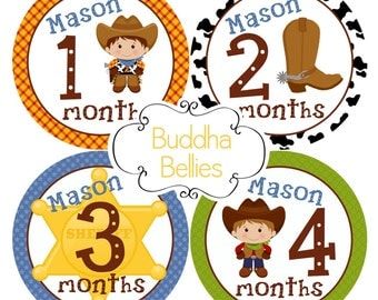 PERSONALIZED Cowboy Baby Month Stickers Western Nursery Monthly Baby Stickers - Baby Decals - Bodysuit Creeper Stickers for Baby Boy BP113
