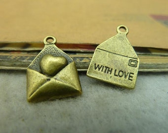 50pcs 12*18mm antique bronze love heart letter charms pendant C3464-23888