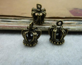 20pcs 12*15mm antique bronze crown charms pendant C8029