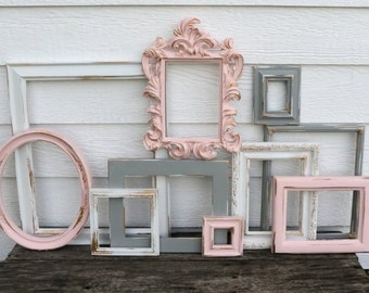 Set of 10 Upcycled Frames - Blush Pink, White, and Gray - Wall Gallery - Nursery - Wedding - Vintage Frames - Frame Set - Baroque Frame