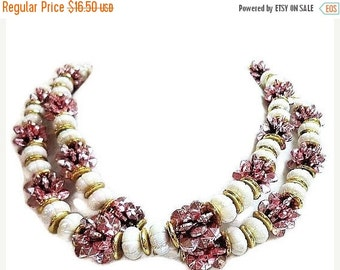 """Holiday Pink Foil & White Bead Necklace Boho Style Gold Metal Findings No Clasp 20"""" Vintage"""