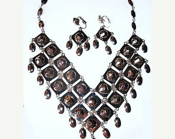 Boho Necklace Earring Demi Set Chevron Silver Metal Beads Checkerboard Facets Vintage