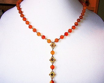 "Tassel Necklace Drop Pendant Carnelian Glass Beads Gold Metal Hook Clasp 20"" Vintage"