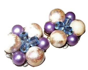 Beaded Cluster Earrings Blue Crystals & Lavender White Beads Silver Filigree Clip Ons 1 1/4 in Vintage