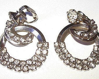 "Rhinestone Dangle Clip On Earrings Crescent Shaped Silver Metal 1 3/4"" Vintage"