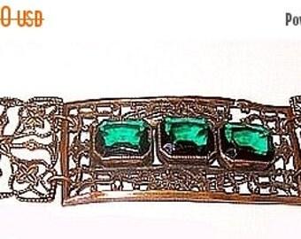 Edwardian Bracelet Green Rhinestones Brass Metal Filigree Lace Panel Links 7 in Antique