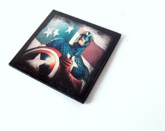 Captain America drink coasters, pop art coasters, geeky coasters, Captain America home decor, black coasters set of 4, geeky hostess gift