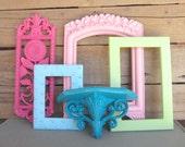 SALE Teal Aqua Pinks Green set of 5/  OPEN Frames, shelf and plaque - Upcycled frames Nursery Playroom Teen Girl Kids room