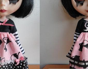 OOAK Black Cat Dress Set For Blythe