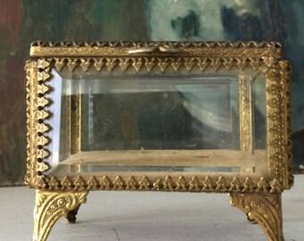 Vintage Jewelry Casket Dresser Vanity Trinket Box Beveled Glass Gold Tone Stylebuilt NY